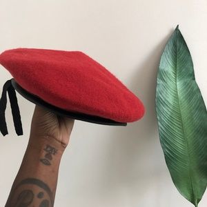 Red Beret Hat with Faux Leather Black Trim